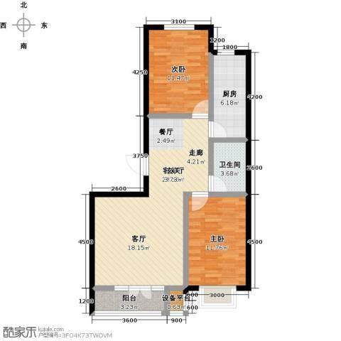 金港花园2室1厅1卫1厨95.00㎡户型图