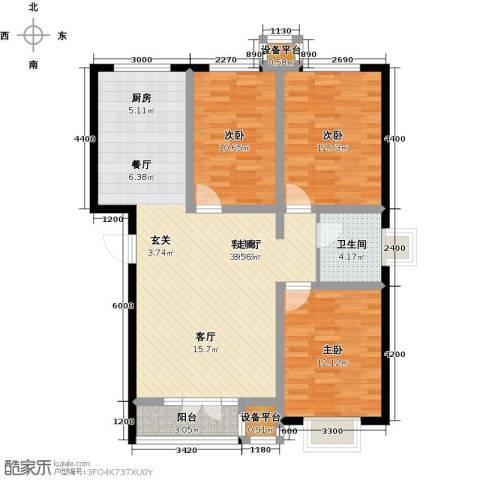 金港花园3室1厅1卫0厨108.00㎡户型图