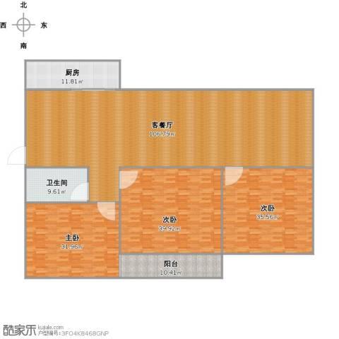 鑫泉花园3室1厅1卫1厨256.51㎡户型图