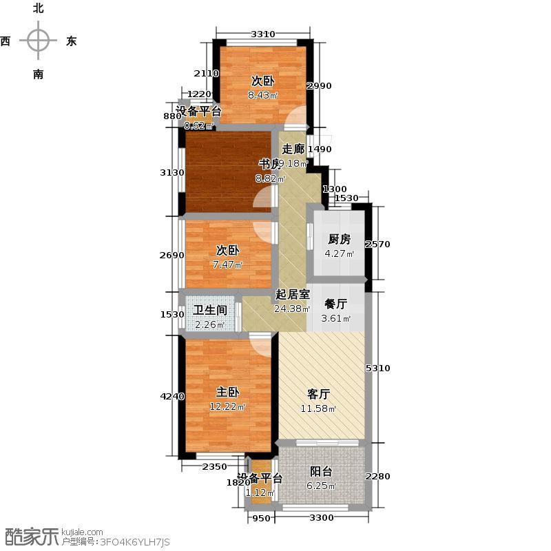 新城悠活城90.00㎡B户型约90平米四房两厅一卫户型4室2厅1卫