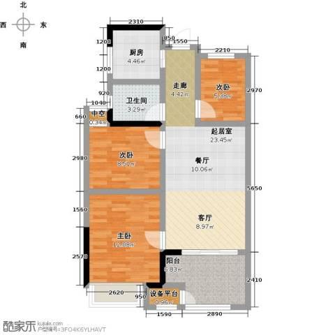 新城悠活城3室0厅1卫1厨77.00㎡户型图