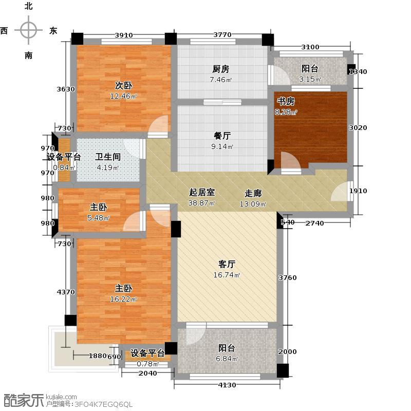 青岛碧桂园121.79㎡洋房户型3室2厅2卫
