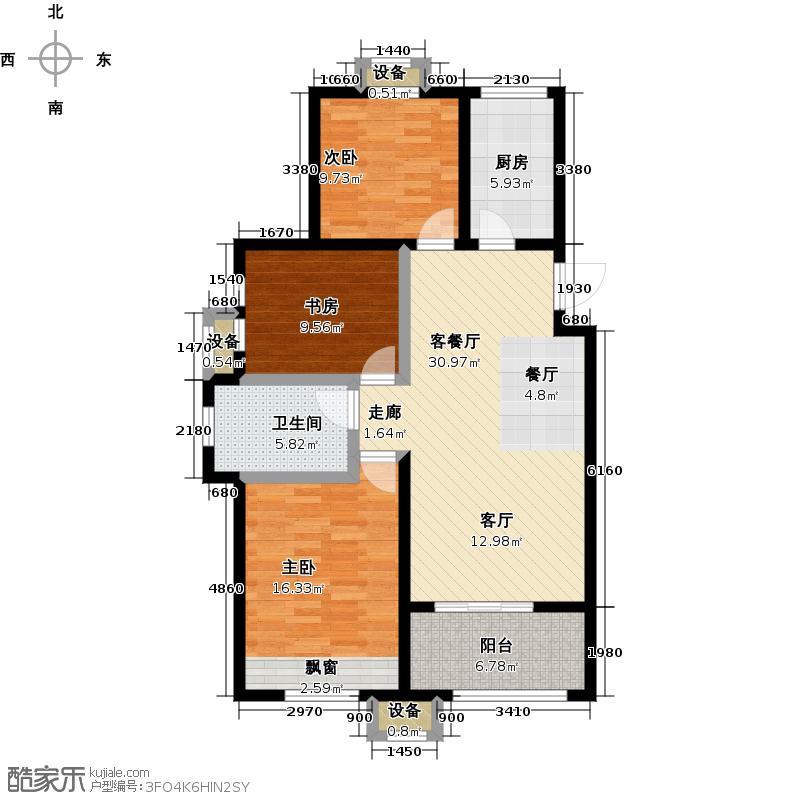 华山橡树湾户型3室1厅1卫1厨