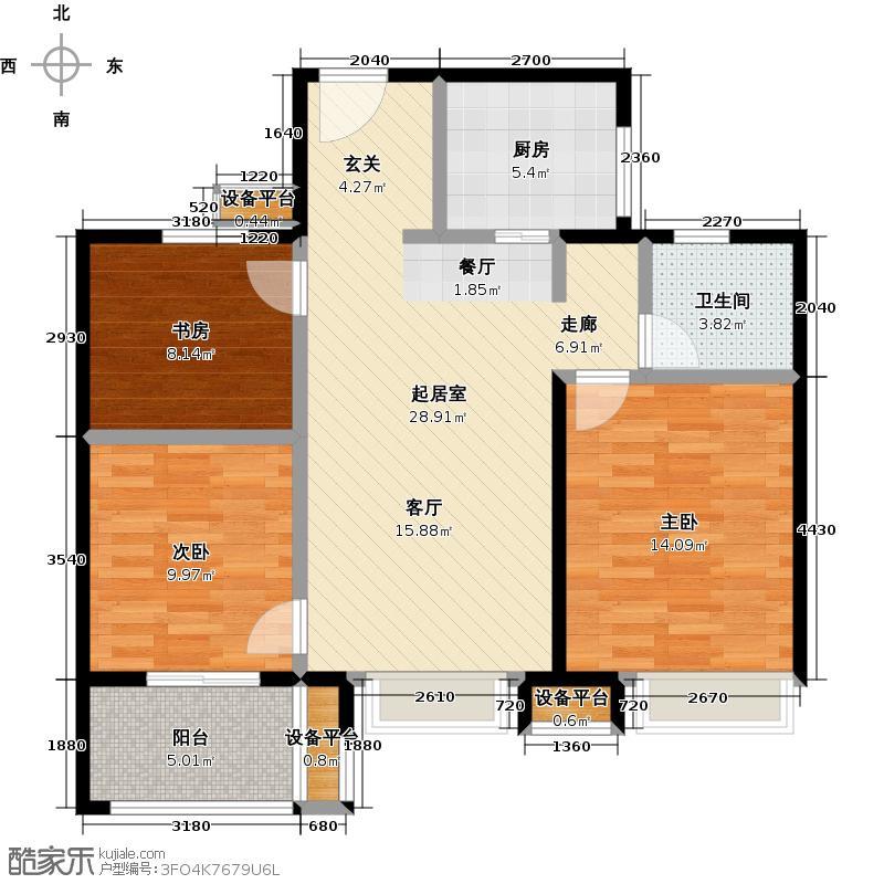 交通紫园88.00㎡B2户型3室2厅1卫