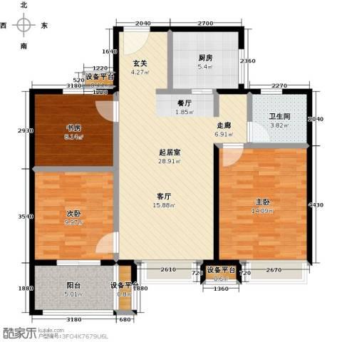 交通紫园3室0厅1卫1厨88.00㎡户型图