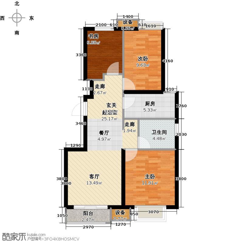 首地・浣溪谷95.00㎡精致三居 三室二厅一卫户型3室2厅1卫