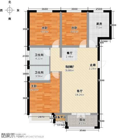 金港花园3室1厅2卫1厨120.00㎡户型图