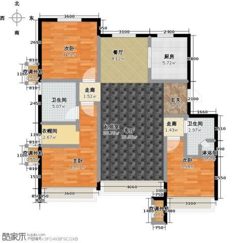 保利罗兰香谷二期3室0厅2卫1厨117.00㎡户型图