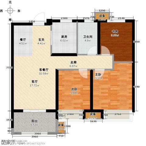 徐州华润绿地・凯旋门3室1厅1卫1厨120.00㎡户型图