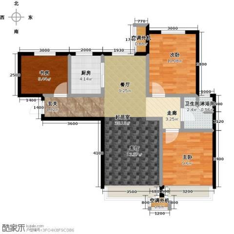 保利罗兰香谷二期3室0厅1卫1厨96.00㎡户型图
