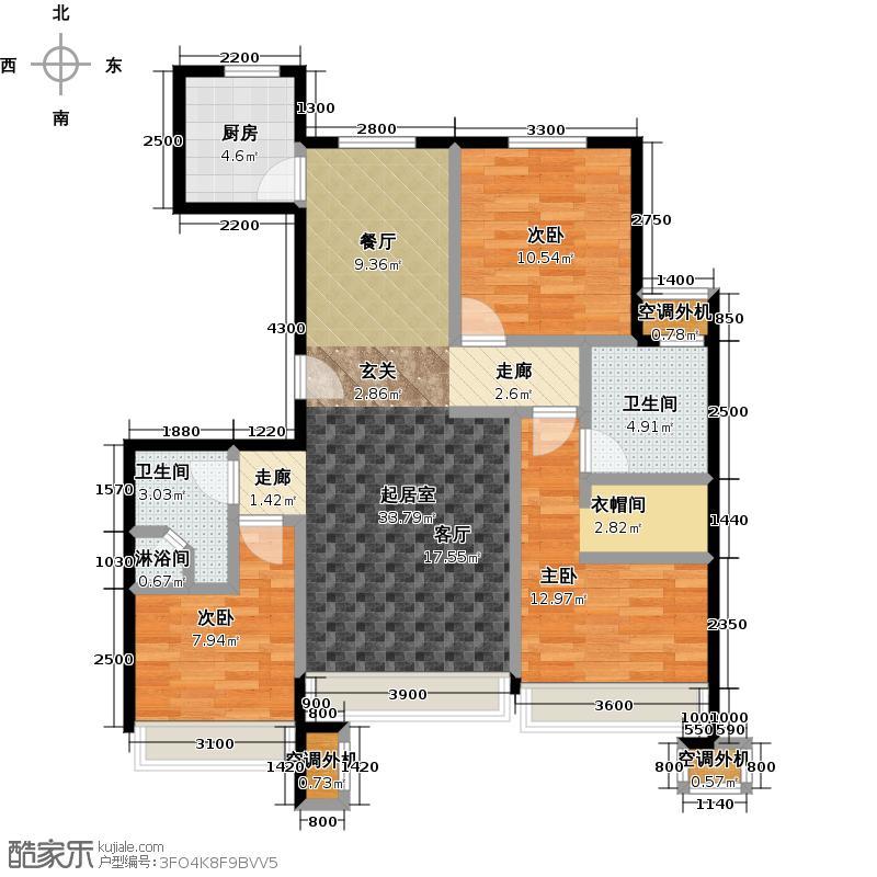 保利罗兰香谷二期108.00㎡C2户型 三室两厅两卫户型3室2厅2卫