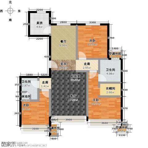 保利罗兰香谷二期3室0厅2卫1厨108.00㎡户型图