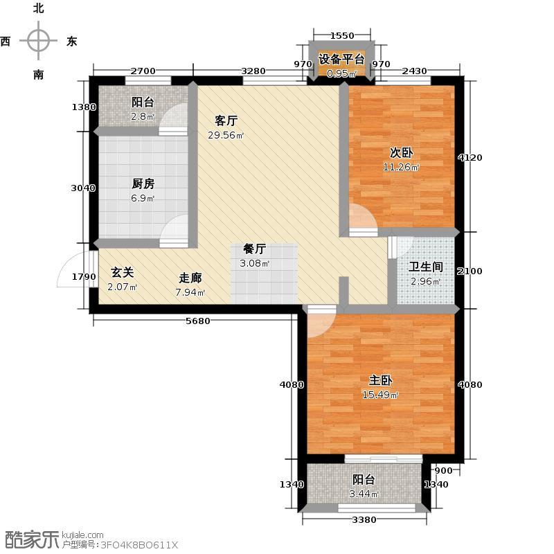 中鼎凤凰城二期峰�85.30㎡39号楼一(二)单元B-3户型2室2厅1卫