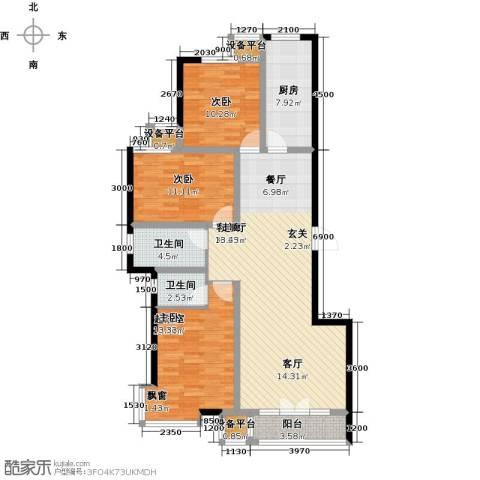 金港花园2室1厅2卫1厨122.00㎡户型图