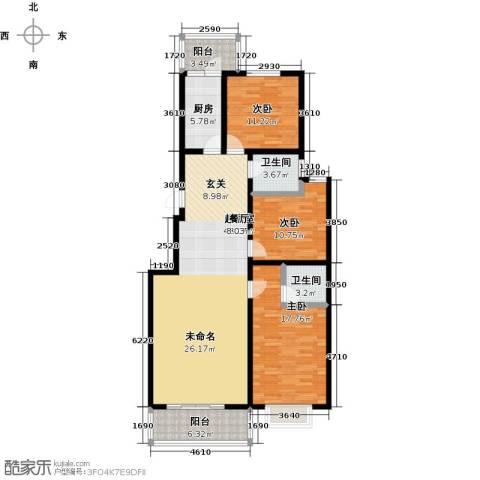 聚富未来城3室0厅2卫1厨120.00㎡户型图