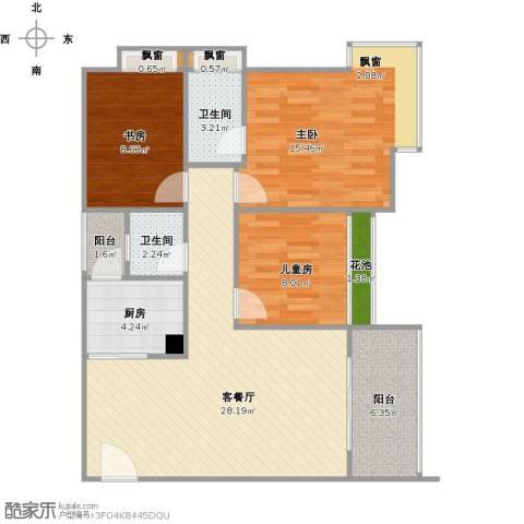 樊华似锦3室1厅2卫1厨111.00㎡户型图