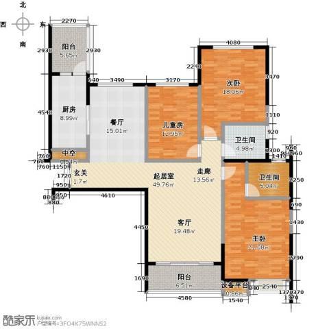 恒大御景湾3室0厅2卫1厨151.00㎡户型图