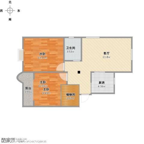 潼港三村2室1厅1卫1厨80.00㎡户型图