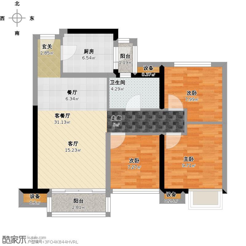 3金地朗悦+89平三房两天一卫F户型