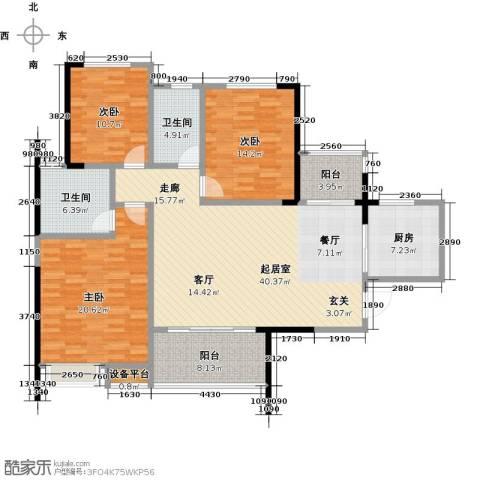 恒大御景湾3室0厅2卫1厨131.00㎡户型图