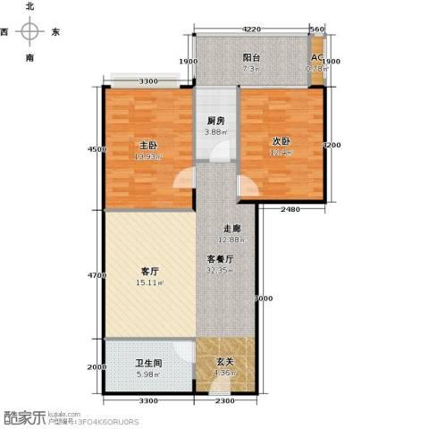 金雅迪大厦2室1厅1卫1厨96.00㎡户型图
