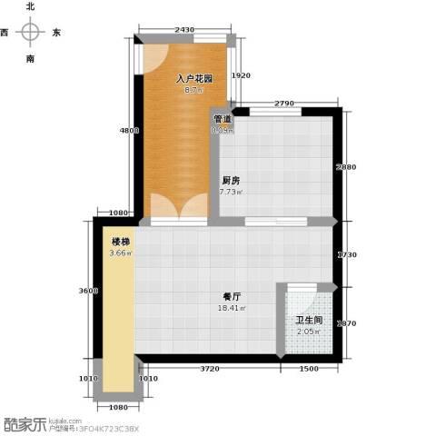 天茂湖三期温莎园1厅1卫1厨54.00㎡户型图