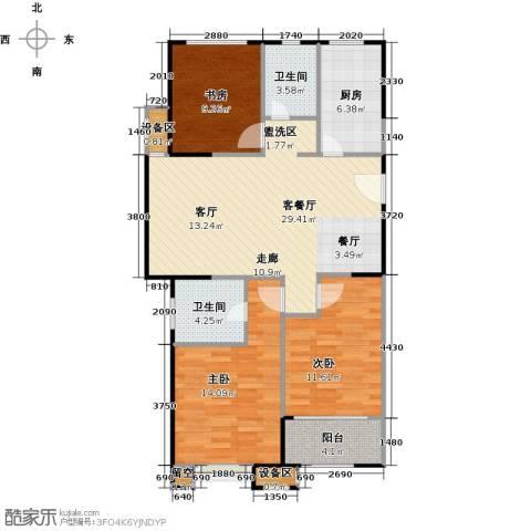 百大康桥3室1厅2卫1厨121.00㎡户型图