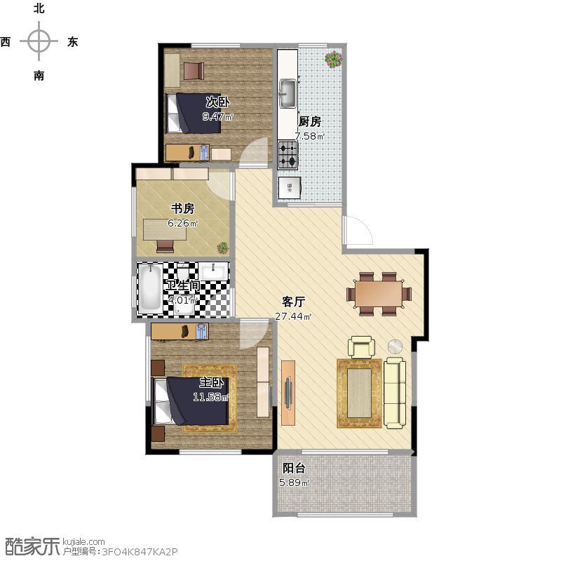 d3户型3室2厅一卫一厨