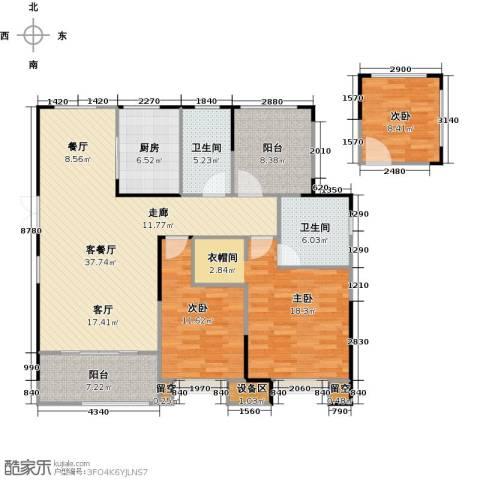 百大康桥3室1厅2卫1厨124.00㎡户型图