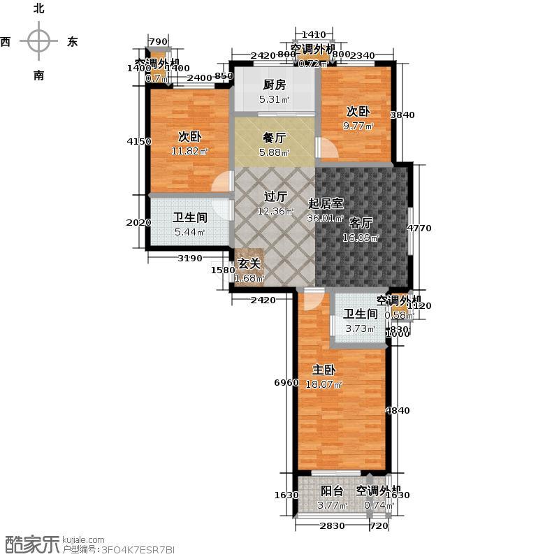 亢龙盛景118.49㎡M1三室两厅两卫户型3室2厅2卫
