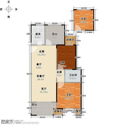 路劲城市主场3室1厅1卫1厨110.07㎡户型图