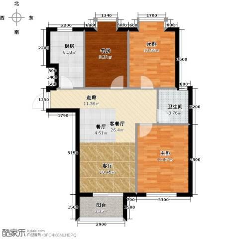 水岸天华3室1厅1卫1厨96.00㎡户型图