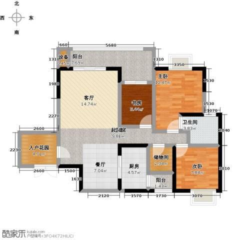 长欣中央广场3室0厅1卫1厨120.00㎡户型图