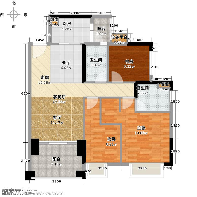 龙光水悦龙湾103.29㎡B3户型103.29㎡3房2厅2卫户型3室2厅2卫