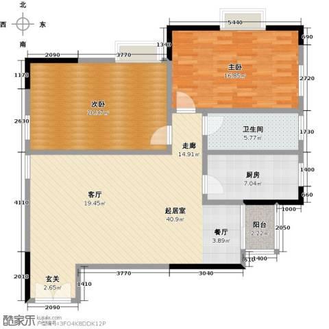 梦泽园美美公馆2室0厅1卫1厨129.00㎡户型图