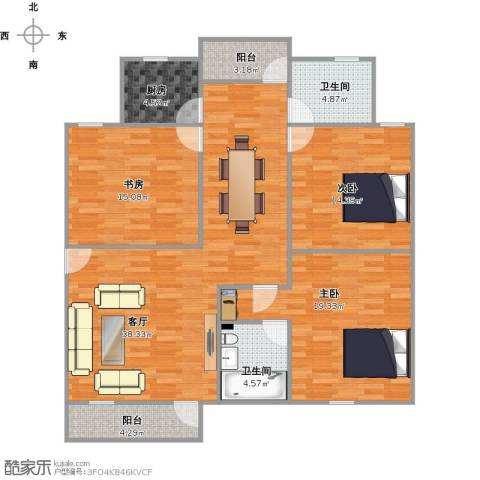 金湖雅苑3室1厅2卫1厨146.00㎡户型图