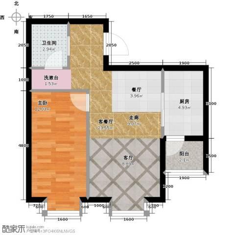 水岸天华1室1厅1卫1厨98.00㎡户型图