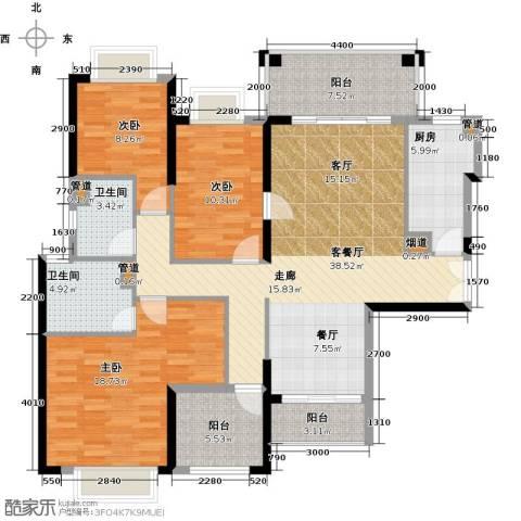 龙光・水悦龙湾3室1厅2卫1厨138.00㎡户型图