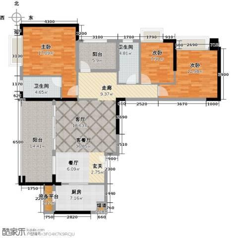 龙光・水悦龙湾3室1厅2卫1厨141.00㎡户型图