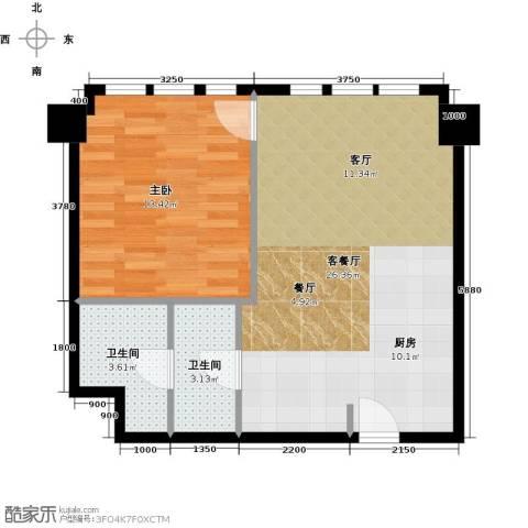 天津公馆1室1厅2卫0厨64.00㎡户型图