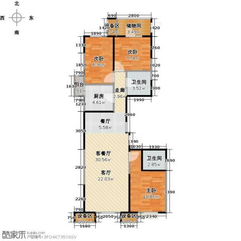 抚顺万达广场3室1厅2卫1厨103.00㎡户型图