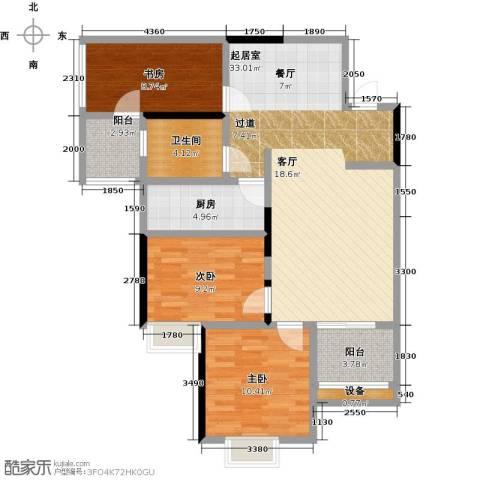 长欣中央广场3室0厅1卫1厨112.00㎡户型图