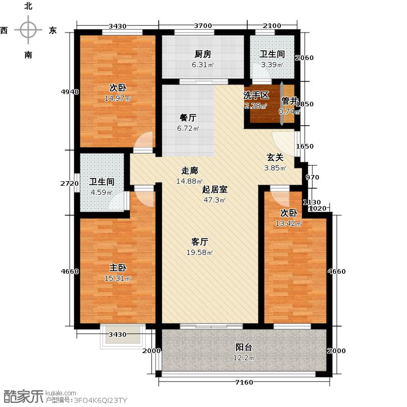 中鑫佳苑户型3室2卫1厨