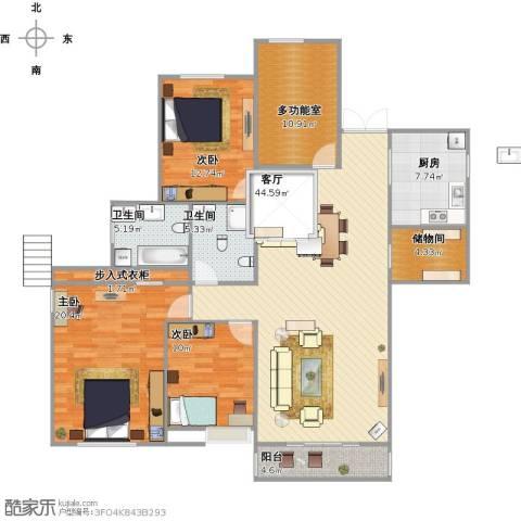 信远朗庭3室1厅2卫1厨171.00㎡户型图