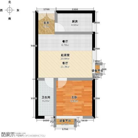 上上城理想新城1室0厅1卫1厨60.00㎡户型图