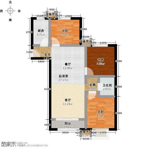 上上城理想新城3室0厅1卫1厨90.00㎡户型图
