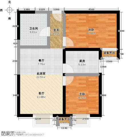 上上城理想新城2室0厅1卫1厨81.00㎡户型图