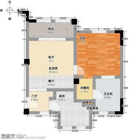 招商・卡达凯斯1室0厅1卫1厨57.00㎡户型图