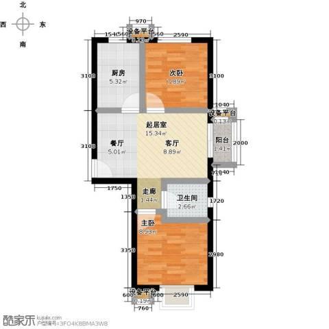 上上城理想新城2室0厅1卫1厨64.00㎡户型图