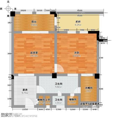 招商・卡达凯斯1室0厅2卫1厨62.00㎡户型图